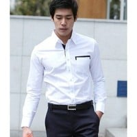 Men Fashion Color Blocking Long Sleeve Slim White Cotton Shirt M/L/XL@614-159-P45w $17.94 only in eFexcity.com.
