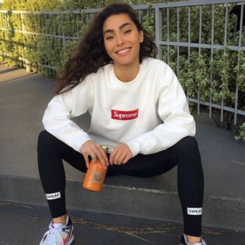 Supreme Embroidered LOGO street tide licensing round neck hedging loose male and female couples super soft plus cashmere sweater White
