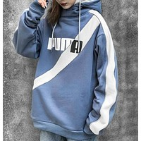 NIKE New fashion letter hook hooded long sleeve sweater Blue