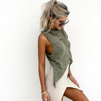 High Neck Sleeveless Irregular Crossover Sexy Blouse