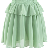 Peplum Chiffon Skirt in Green Green S/M