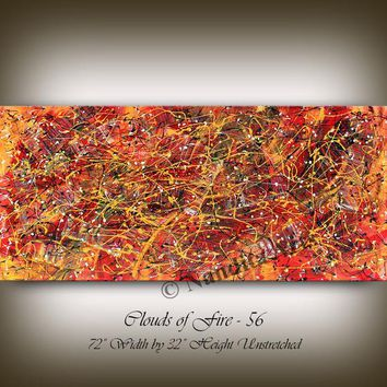 """ABSTRACT WALL ART, 72"""" Jackson Pollock Luxury Look Unique Vintage Style Large Original Painting on Canvas by Nandita Albright"""