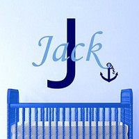 Boy Nursery Wall Decals Name Decal Nautical Decal Monogram Decal Stickers Nursery Boy Room Decor Ds303