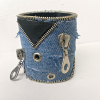Cuff  denim bracelet, Recycled Blue Jeans, zipper and black leatherette, shabby chic style,  Primive style ,eco friendly, recycled jewelry
