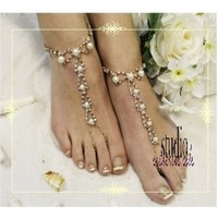 barefoot sandals wedding | gold barefoot sandals | Parisian barefooot sandals