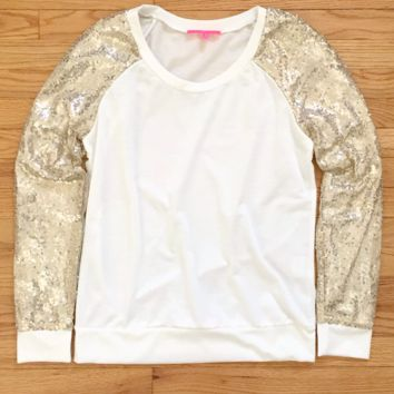 Gold Sequin Sleeves Baseball Top
