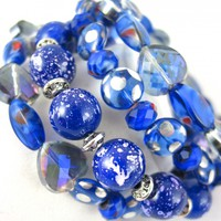 Bracelet Handmade Bangle Wrap Stack Blue Sapphire Silver Glass Beaded