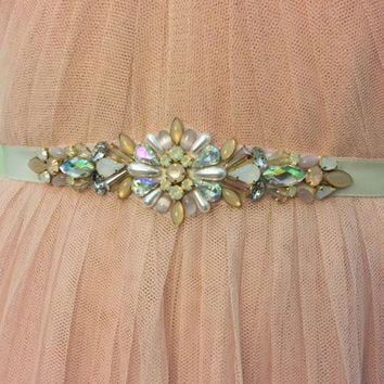 Iridescent Blush, Rose Gold, Opal, Ivory Crystal and Pearl Vintage Inspired Jewel Embellished Satin Ribbon Bridesmaids Bridal Belt Sash