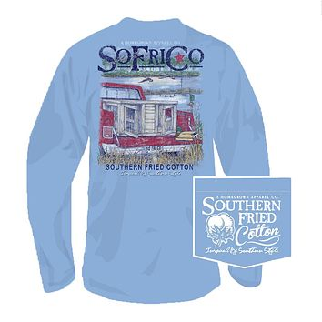 Out for the Hunt Long Sleeve Tee in Faded Jeans by Southern Fried Cotton