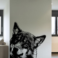 Vinyl Wall Decal Sticker Peeking Wolf #5484