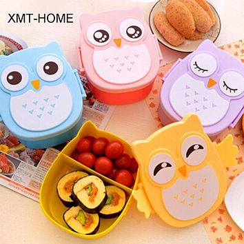 XMT-HOME 4pcs owl box lunch container bento owl container dinnerware children's portable plastic storage cereal boxes