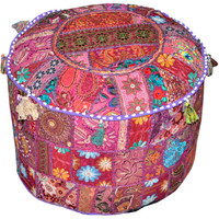Round Ottoman Pouf in Purple decorative Cushion Ethnic Indian Decor Art bohemian stool chair pouffe pouffes Indian floor PILLOW bean bag