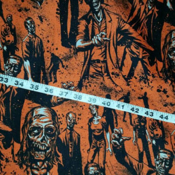 Halloween fabric with zombies walkers corpse Kaufman cotton print quilt quilter sewing material to sew by the yard crafting BTY