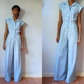 Vtg 70's Light Blue One Piece Button Up SS Retro Jumpsuit
