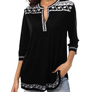Urban CoCo Womens 34 Sleeve Boho Shirts Embroidered Peasant Top