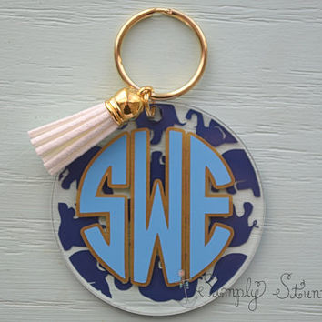 Lilly Pulitzer Inspired Monogrammed Keychain, Elephant key chain, leather tassel