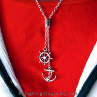 Silver Nautical Helm and Anchor Necklace