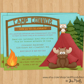Camp Out Birthday Invite, Sleepover Slumber Party Invitation - Printable, Digital, Custom, Sleeping Bag, Camping, Moose, Owl, Outside, Tent