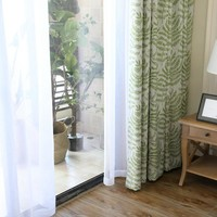 Thick plant printing garden style shower curtains for bathroom
