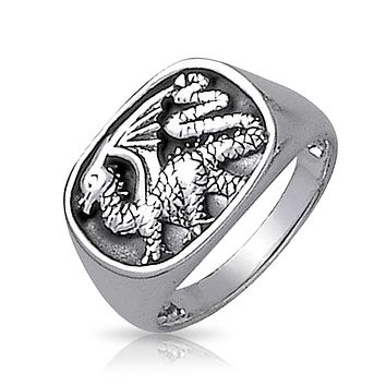 Rectangle Mens Royal Dragon Signet Ring Oxidized 925 Sterling Silver