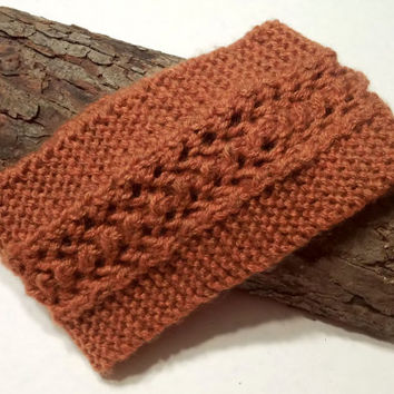 FREE SHIPPING Lace Headband in Rust Color,Handmade Headband,Knit Wide Headband,Ear Warmer,Trendy Winter Headband,Knit Women Accessory,Boho