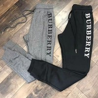 Burberry Casual Letter Embroidery Trousers Pants Sweatpants