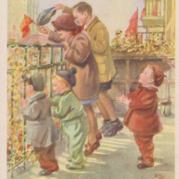 "Rare! N. Zhukov ""Celebration!"" Postcard -- 1954"