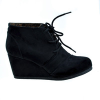 Rex by Soda, Black Suede lace up oxford ankle bootie round toe high hidden wedge heel women's shoe