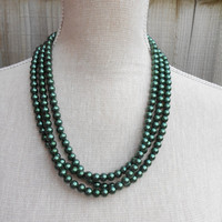Dark green pearl necklace, great for Wedding, Bride, Bridal, Birthday gift, Christmas, Anniversary, Valentine, Mother day, Friends gift