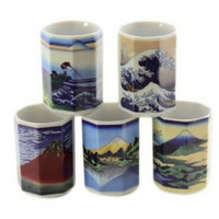 Japanese Tokaido woodblock print tea cups.