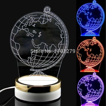 Color Change LED Globe Creative 3D Optical illusion Surround Pattern Atmosphere Table Lamp