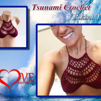 Tsunami crochet bikini top, Brazilan bikini, Festival top, Knitted top | LoveKnittings