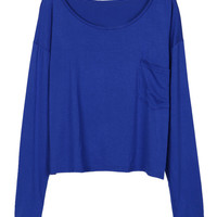 Royal Blue Pocket Detail Long Sleeve T-shirt