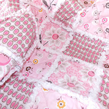 Baby Girl  Shabby Chic  Rag Quilt  Blanket in Daisy Cottage Pink