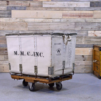 Vintage Canvas Factory Cart, Meese Industrial Rolling Cart, Canvas Laundry Cart