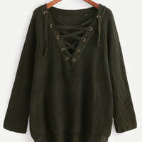 Dark Green Eyelet Lace Up Sweater