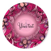 Cute hearts and flowers pattern classic round sticker