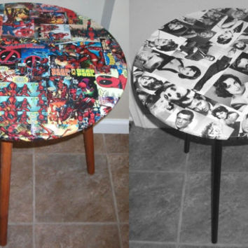 Custom Decoupage Decorative/end table Made to Order Marvel & DC Comics, Rock Album Art Posters, Hollywood Movie Stars
