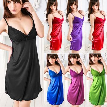 2018 Ladies Night Satin Silk Nightgown Babydoll Nightdress Chemise Lace Robe Sleepwear Dress Sexy Lingerie Costumes Accessories