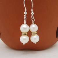 Pearls Earrings, Bridal Pearls Earrings, Elegant Pearls Earrings