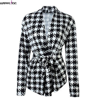 2017 Women Blazers and Jackets Black White Plaid Blazer Feminino Summer blazer Coat Work Wear Office OL style Blazer with Sashes