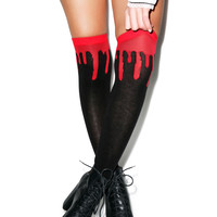 Drippy Blood Knee High Socks BLACK One