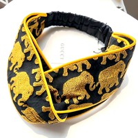 GUCCI Tide brand embroidery gold elephant edging hair band