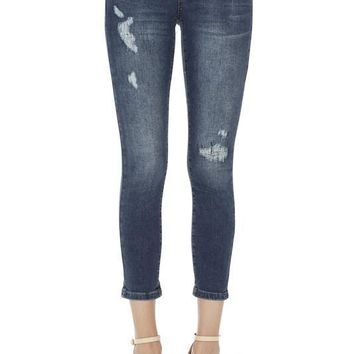 Zena Distressed Patched Capri Skinny Jeans