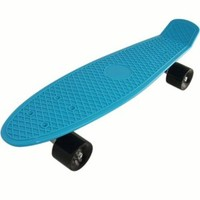 Welcomeget Bl-bk Complete Plastic Cruiser Skateboard Blue Board Retro Style