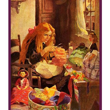 Little Girl Making Dresses for Her Dolls By Jessie Willcox Smith Counted Cross Stitch or Counted Needlepoint Pattern
