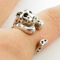 Leopard Animal Wrap Ring - Silver - Size 5