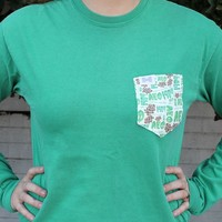 Alpha Epsilon Phi Long Sleeve Tee Shirt in Grass Green with Pattern Pocket by the Frat Collection - FINAL SALE