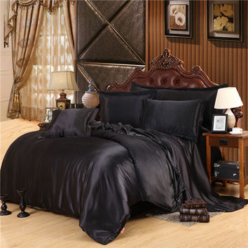 Home Textile Solid Satin 3/4Pcs Queen/King Size Luxury Bedding Sets Bedclothes Bed Linen Duvet Cover Set Bed Sheet