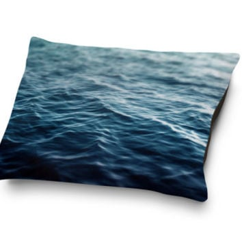 Dark Waters - Pet Bed, Deep Blue Ocean Nautical Sea Print Bedding, Cat & Dog Canine and Feline Pet Bedroom Accent. In 18x28 30x40 40x50 Inch